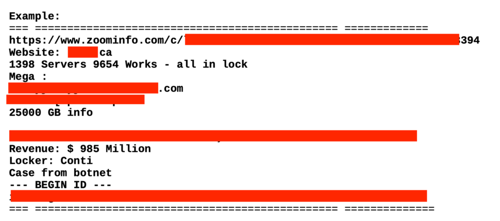 Redacted data of a Conti ransomware victim
